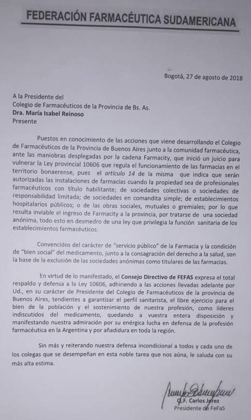 La Federación Farmacéutica Sudamericana expresó su respaldo y defensa a la Ley 10606